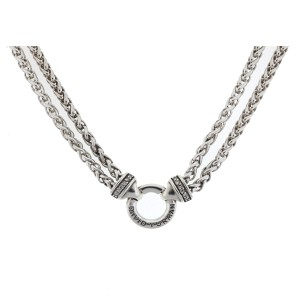 David Yurman Double Row Sterling Silver Diamond Necklace