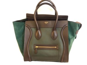 Céline Luggage Colorblock Satchel Tote in DARK FOREST GREEN AND BURGUNDY