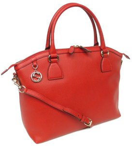 Gucci Leather Gg Charm Convertible Satchel in Red