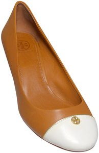 Tory Burch Colorblock Wedge Heel In Box New Light Brown/White Pumps