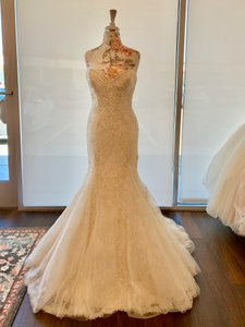 Justin Alexander Ivory with Light Gold Lining Beaded Lace 9794 Sexy Wedding Dress Size 12 (L)