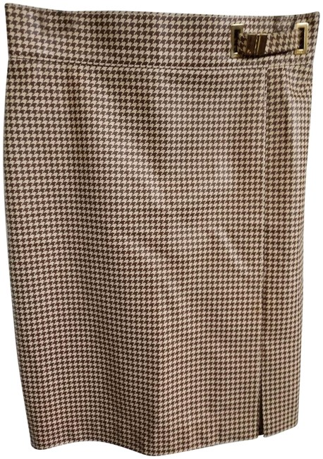 Item - Beige Brown Leather Houndsto Print Straight with Slit Skirt Size 2 (XS, 26)