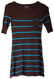 Takeout short dress Brown and Blue Striped Sweaterdress Knit on Tradesy