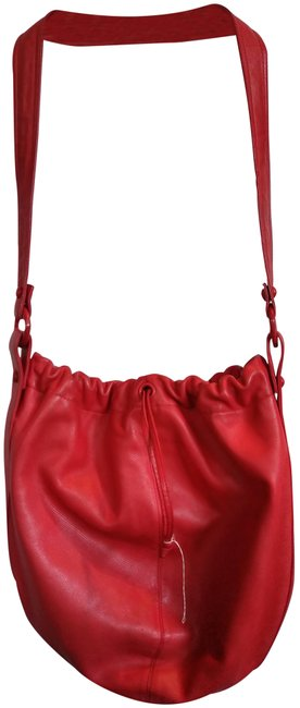 Item - Genuine Drawstring with Long Strap Red Leather Hobo Bag