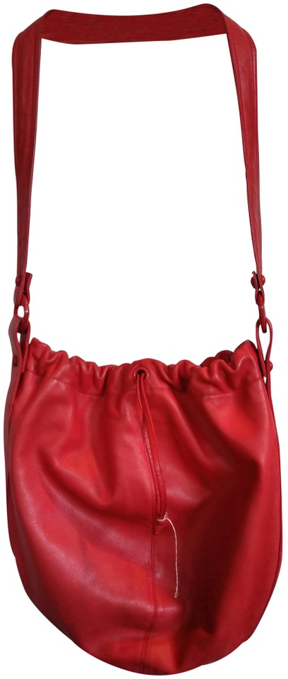 53733b45b3 Bottega Veneta Genuine Drawstring with Long Strap Red Leather Hobo ...