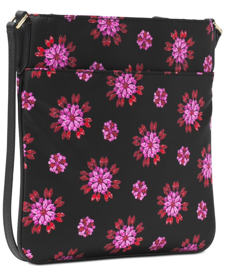 7e9bc3f0ea3232 Michael Kors Kelsey Large Black Pink Floral Print Nylon Cross Body ...