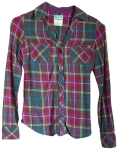 Hang Ten Glitter Sparkle Flannel Colorful Button Down Shirt Green, Blue, Purple
