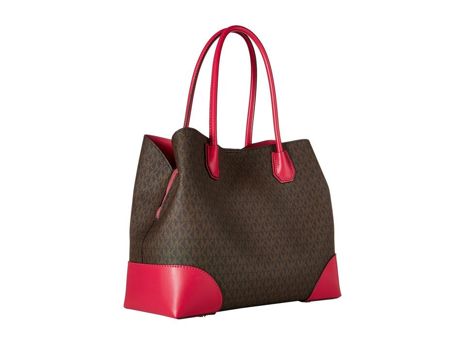 469c5a49d389 MICHAEL Michael Kors Mercer Large Brown Ultra Pink Leather Tote ...