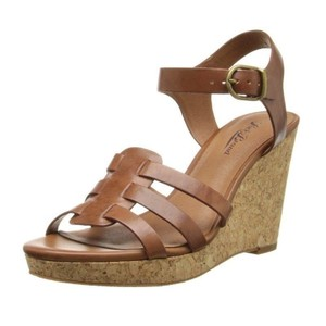 Lucky Brand Sandals Platform Cork Leather Brown Wedges