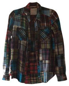 Free People Button Down Shirt Patchwork