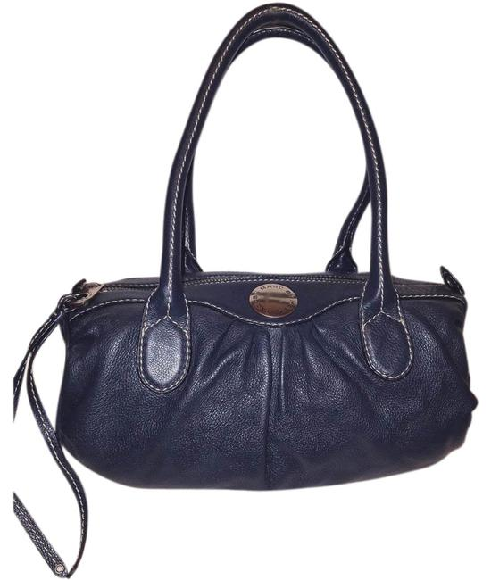 Item - Handbag With A Zipper Closure & White Top Stitching Navy Leather Hobo Bag