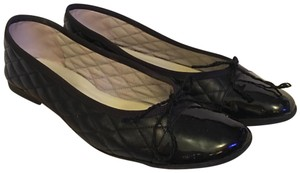 French Sole Black Patent/ Black Leather Flats