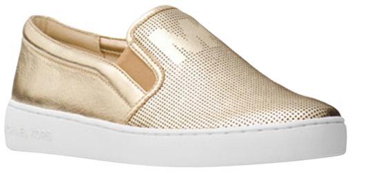 MICHAEL Michael Kors Perforated Leather Gold Flats Image 0