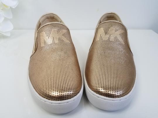 MICHAEL Michael Kors Perforated Leather Gold Flats Image 3