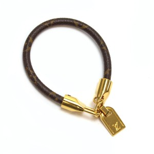 Louis Vuitton Monogram canvas leather Louis Vuitton lock charm bracelet