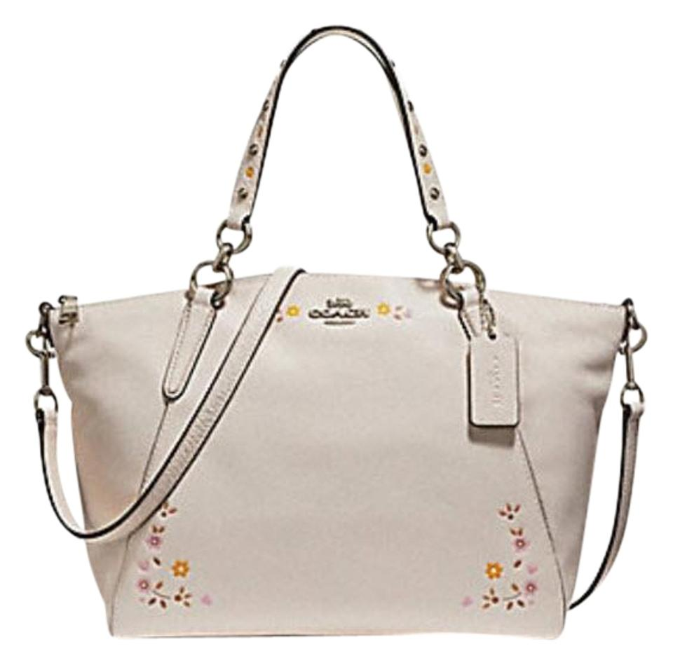 7147bbc4 Coach Kelsey 24599 Small with Floral Tooling White Leather Satchel 67% off  retail