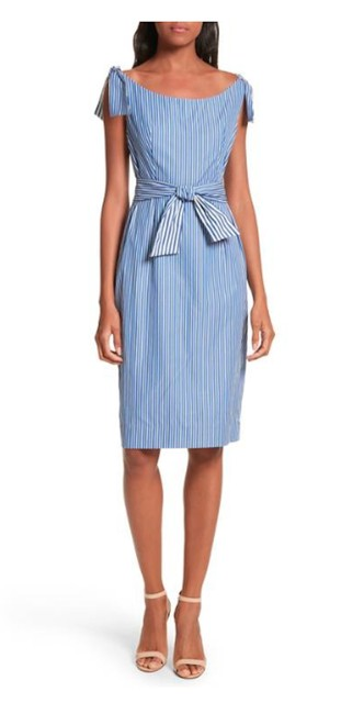 Item - Blue and White Stripes Mid-length Short Casual Dress Size 10 (M)