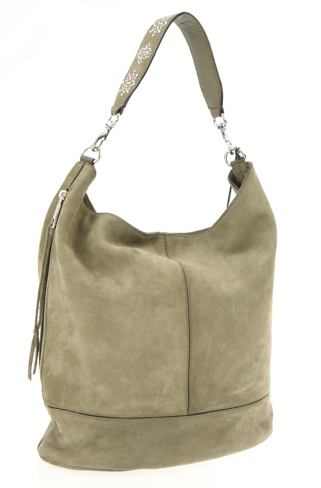 ffb30db97a1 Rebecca Minkoff Studded Bucket Olive Green Nubuck Leather Hobo Bag ...