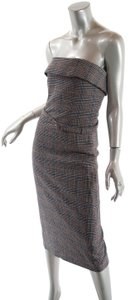 Jean-Paul Gaultier Houndstooth Plaid Wool Strapless Dress