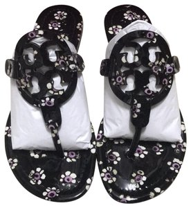 f2891d3fa5124 Tory Burch Black Stamped Floral Miller Sandals Size US 6 Regular (M ...
