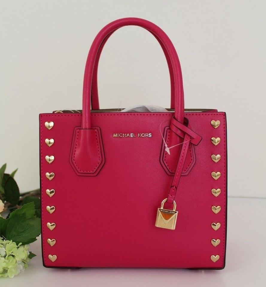 e4e34325f061 Michael Kors Heart Studded Mercer Medium Messenger Ultra Pink Leather  Satchel