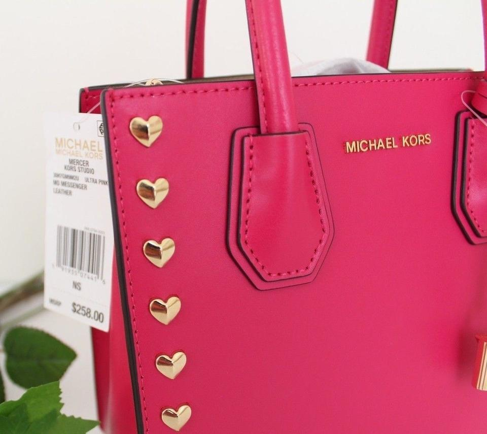 539e4c9ec4eb Michael Kors Heart Studded Mercer Medium Messenger Ultra Pink Leather  Satchel - Tradesy
