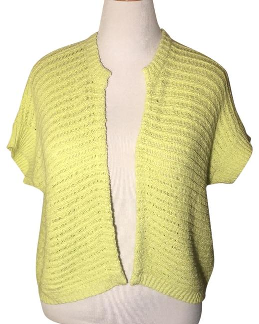 Item - Lime Buttonless Knitted Short Vest Scarf/Wrap