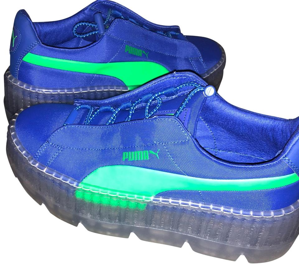 los angeles 9b6a1 f7612 FENTY PUMA by Rihanna Blue and Lime Green Cleated Platform Creeper Sneakers  Size US 6 Regular (M, B) 31% off retail