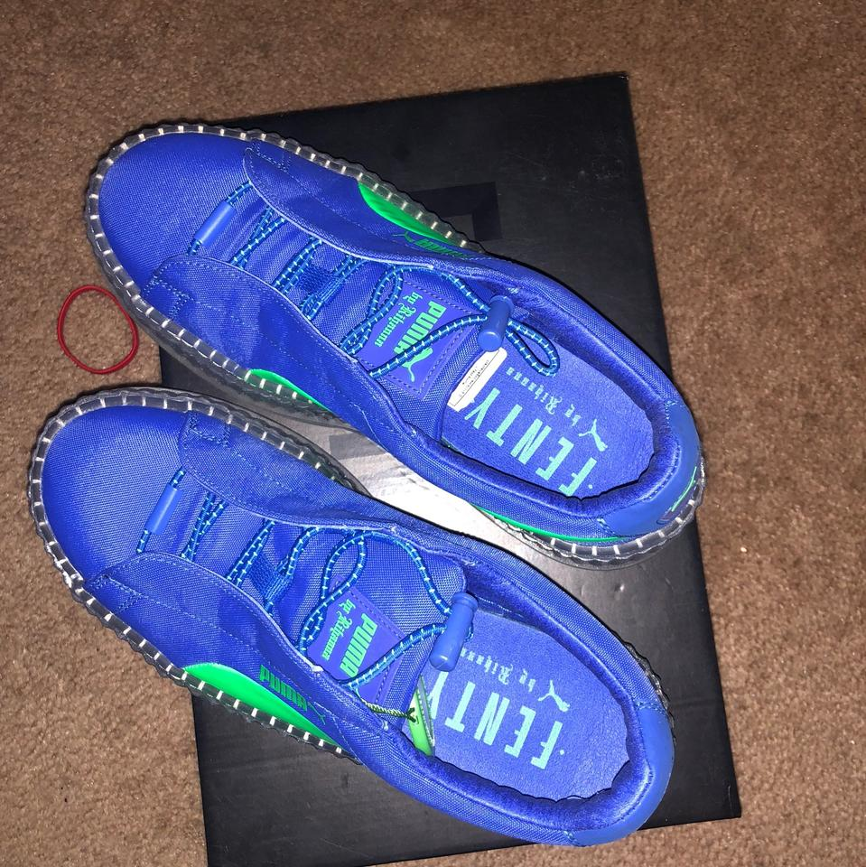 los angeles 1d322 76bba FENTY PUMA by Rihanna Blue and Lime Green Cleated Platform Creeper Sneakers  Size US 6 Regular (M, B) 31% off retail