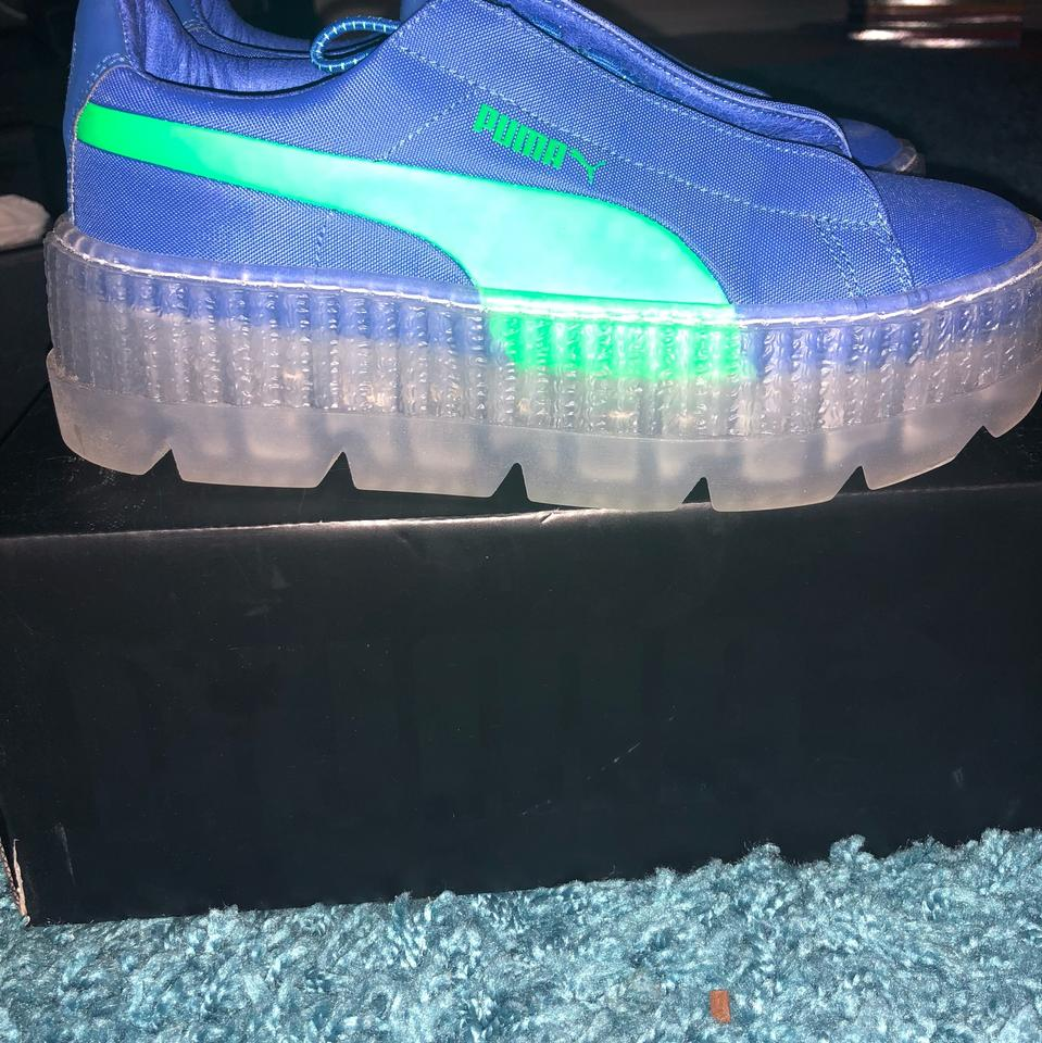los angeles 8048c 37ab8 FENTY PUMA by Rihanna Blue and Lime Green Cleated Platform Creeper Sneakers  Size US 6 Regular (M, B) 31% off retail