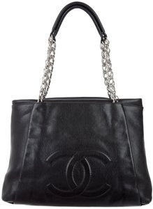 Chanel Gst Classic Flap Grand Shopping Timeless Cc Pleated Tote in Black