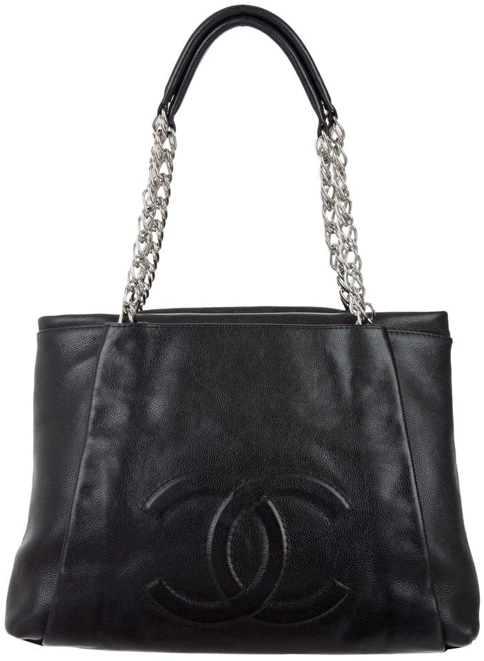 e745beb43d26 Chanel Pleated Timeless Cc Classic Grand Shopping Gst Quilted Shw Black  Caviar Leather Tote