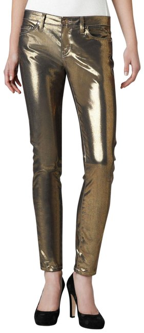 Item - Gold Coated New York Broom Street Metallic Skinny Jeans Size 25 (2, XS)