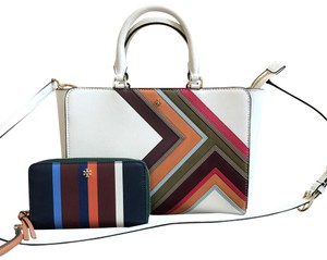 Tory Burch Gift Leather Gucci Tote in new ivory multi stripe
