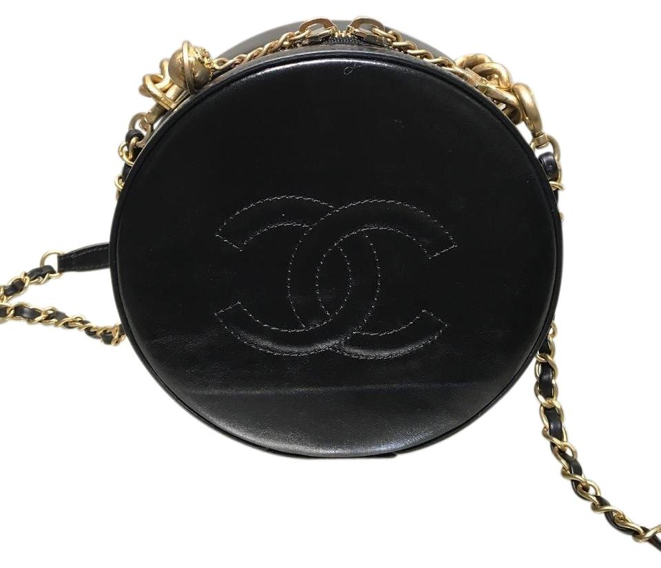 d5491d2dd37b85 Chanel Sold Out Round As Earth Black Leather Cross Body Bag - Tradesy