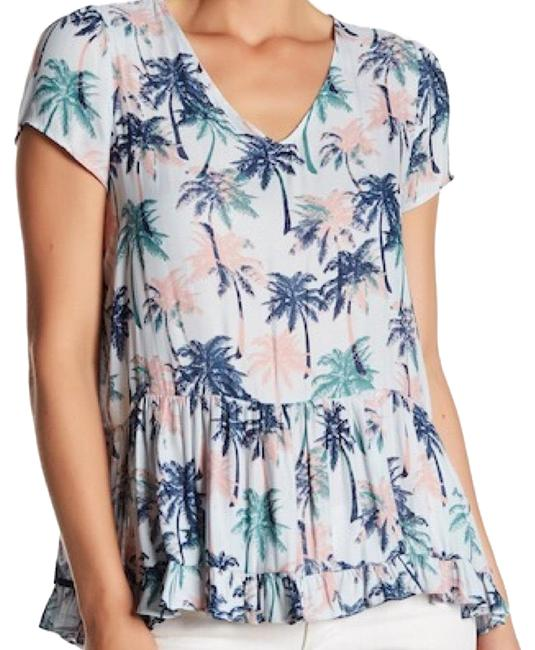 Item - Blue and Pink Palm Tree Print Blouse Size 4 (S)