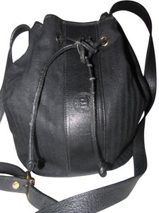 Fendi Mint Vintage Popular Style Drawstring Top Bucket Body Satchel in black striped coated canvas and black leather