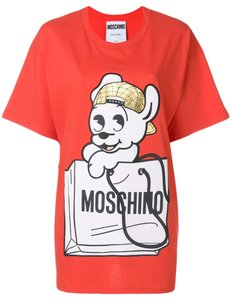 Moschino Pudge Animal Print Logo Monogram Dog T Shirt Black, White, Red, Gold