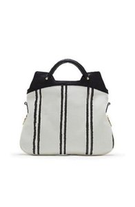 Vince Camuto Snake-embossed Leather Convertible Gold Hardware Tote in White & Black
