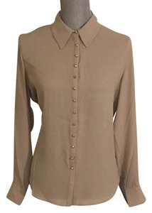 Vince Camuto Snaps Studded Studs Button Down Longsleeve Top Oyster
