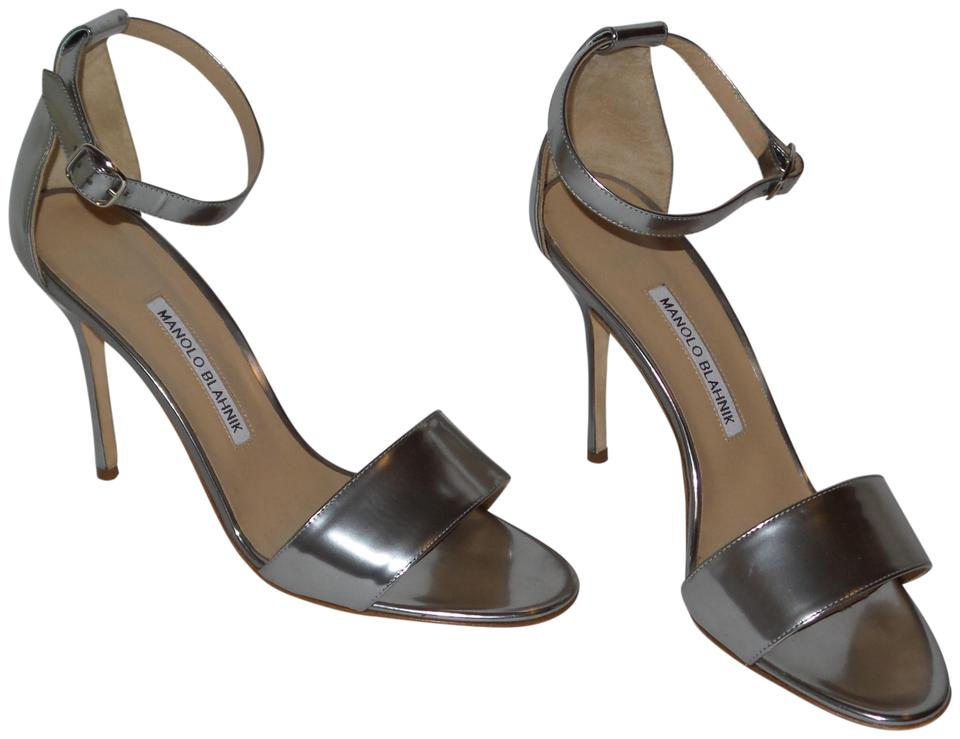 50d08a934cd Manolo Blahnik Silver Tres Leather Ankle-strap Heels Sandals Size EU ...