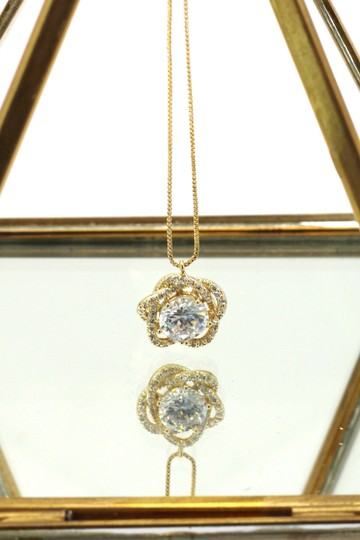 Ocean Fashion 925 gold Lovely crystal flower necklace Image 2