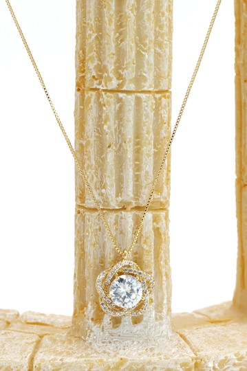 Ocean Fashion 925 gold Lovely crystal flower necklace Image 4