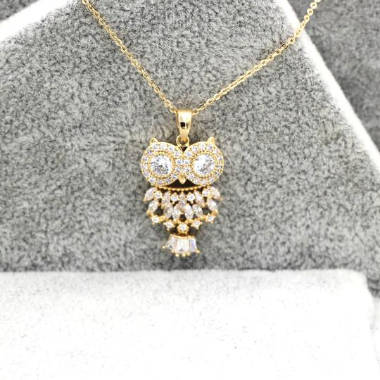 Ocean Fashion Gold Owl Crystal Necklace Image 7