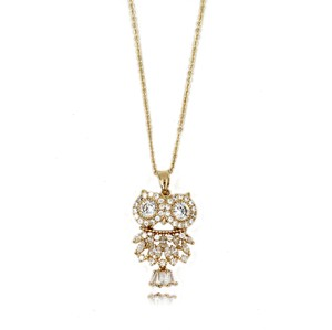 Ocean Fashion 925 Gold Owl Crystal Necklace