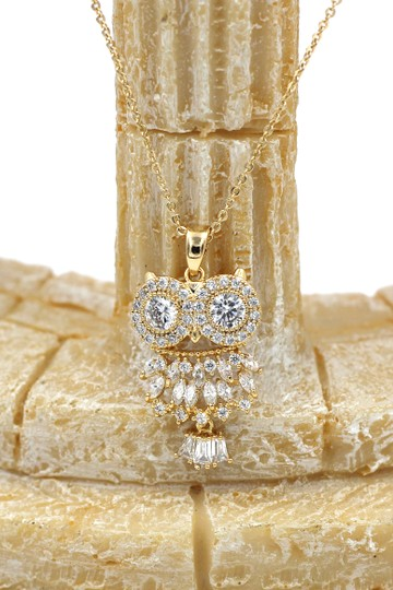 Ocean Fashion 925 Gold Owl Crystal Necklace Image 4