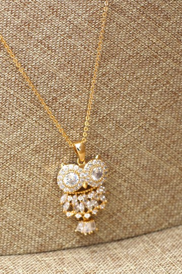 Ocean Fashion 925 Gold Owl Crystal Necklace Image 6