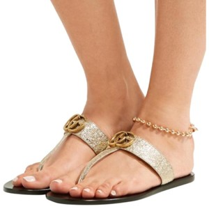 3ef44f483 Gucci Marmont Metallic Leather Sandals Size EU 36.5 (Approx. US 6.5)  Regular (M, B)