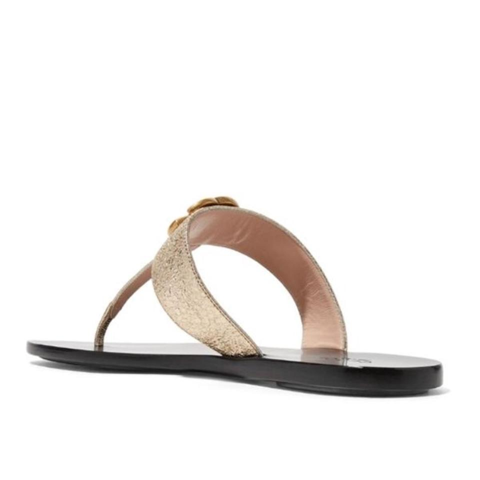 cbbe2776f01 Gucci Marmont Metallic Leather Sandals Size EU 36.5 (Approx. US 6.5)  Regular (M