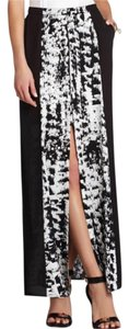 BCBGMAXAZRIA Maxi Skirt black and white print